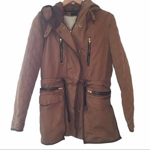 Zara quilted 3 in 1 jacket and vest brown size S